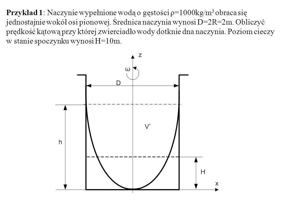 Przykład 1: Naczynie wypełnione wodą o gęstości ρ=1000kg/m 3 obraca się jednostajnie wokół osi pionowej. Średnica naczynia wynosi D=2R=2m. Obliczyć pr