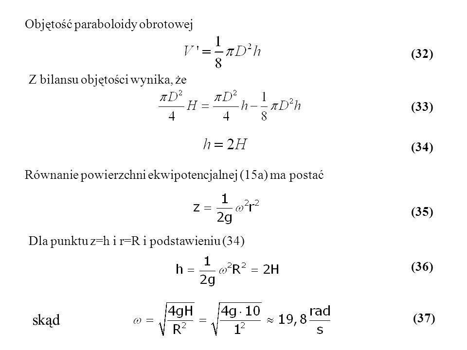 Objętość paraboloidy obrotowej Z bilansu objętości wynika, że Równanie powierzchni ekwipotencjalnej (15a) ma postać (32) (33) (34) (35) Dla punktu z=h