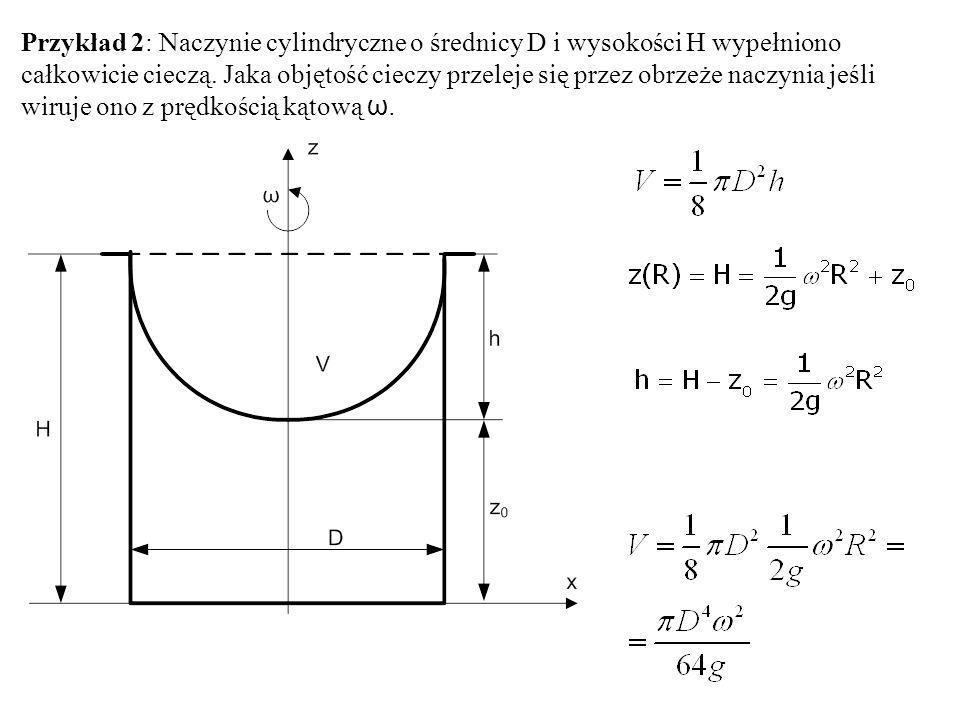 Przykład 2: Naczynie cylindryczne o średnicy D i wysokości H wypełniono całkowicie cieczą. Jaka objętość cieczy przeleje się przez obrzeże naczynia je