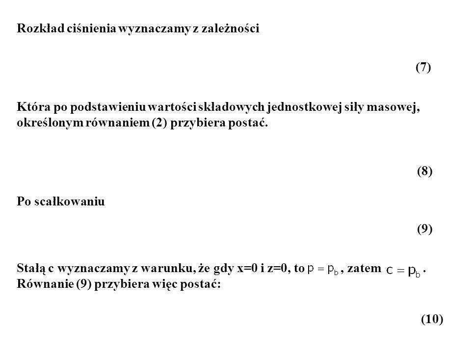 Stałą c wyznaczamy z warunku, że gdy x=0 i z=0, to, zatem. Równanie (9) przybiera więc postać: Rozkład ciśnienia wyznaczamy z zależności Która po pods