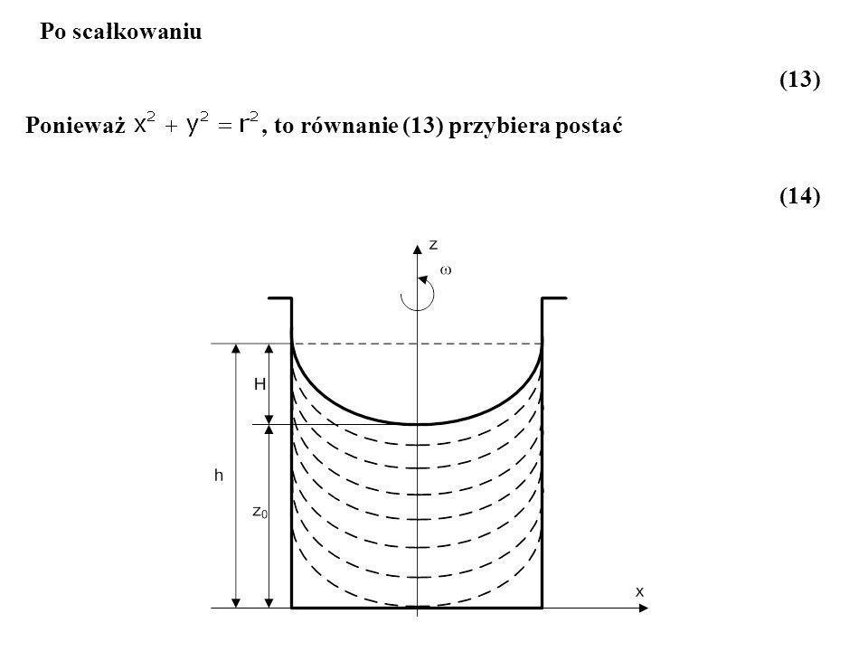 (1) a) Dla h<H/2 Równanie powierzchni swobodnej ma postać ( ) a w punkcie A zachodzi równość Wysokość paraboloidy obrotowej wyznaczamy z porównania objętości nad powierzchnią swobodną w czasie spoczynku i w czasie ruchu.