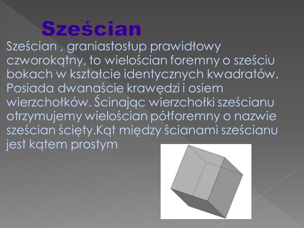 Sześcian, graniastosłup prawidłowy czworokątny, to wielościan foremny o sześciu bokach w kształcie identycznych kwadratów.