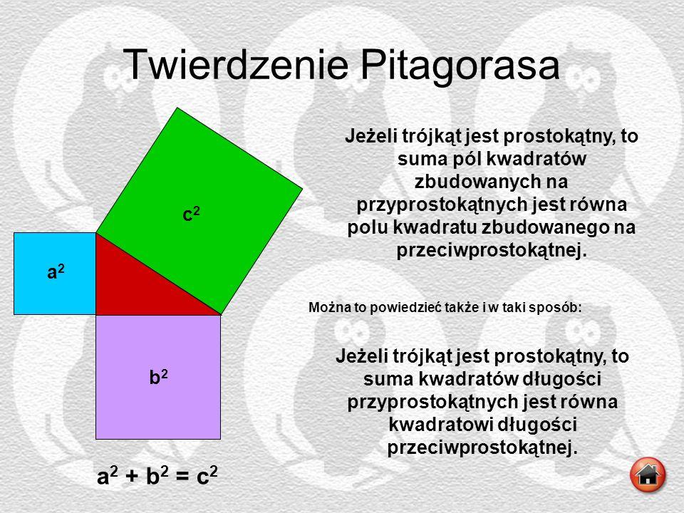c b a Twierdzenie Pitagorasa b2b2 c2c2 a2a2 a 2 + b 2 = c 2 Jeżeli trójkąt jest prostokątny, to suma pól kwadratów zbudowanych na przyprostokątnych je