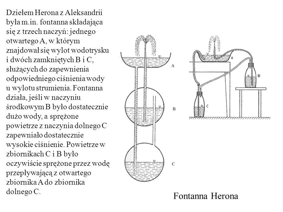 Fontanna Herona Dziełem Herona z Aleksandrii była m.in. fontanna składająca się z trzech naczyń: jednego otwartego A, w którym znajdował się wylot wod