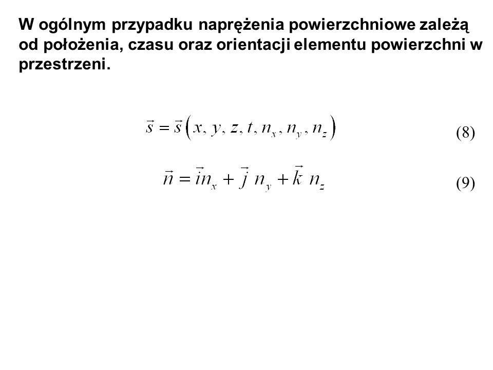 W ogólnym przypadku naprężenia powierzchniowe zależą od położenia, czasu oraz orientacji elementu powierzchni w przestrzeni. (8) (9)