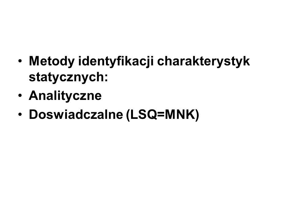 Metody identyfikacji charakterystyk statycznych: Analityczne Doswiadczalne (LSQ=MNK)