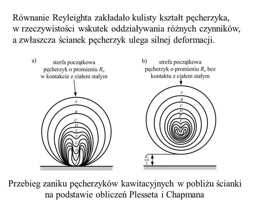 Równanie Reyleighta zakładało kulisty kształt pęcherzyka, w rzeczywistości wskutek oddziaływania różnych czynników, a zwłaszcza ścianek pęcherzyk uleg
