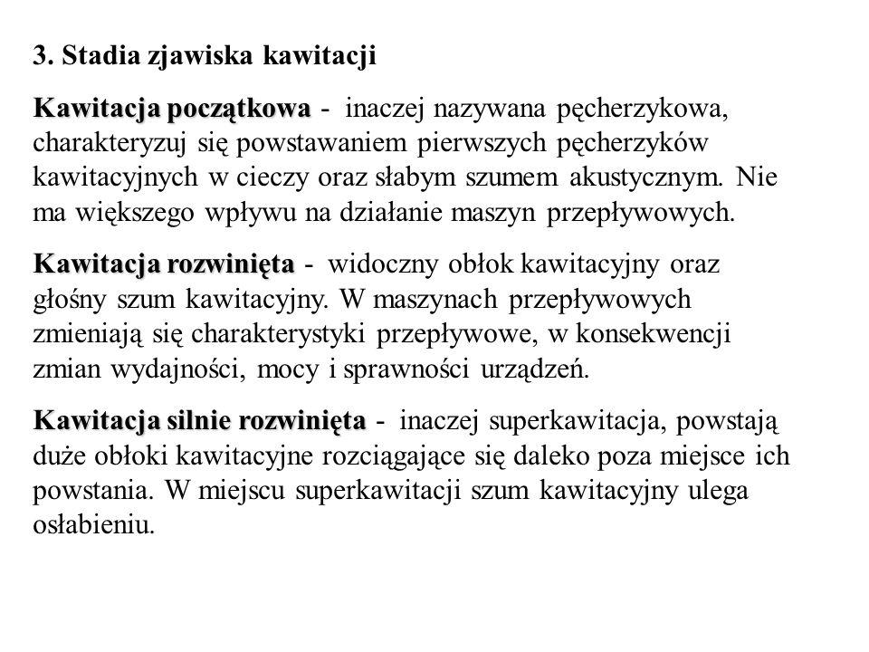 3. Stadia zjawiska kawitacji Kawitacja początkowa Kawitacja początkowa - inaczej nazywana pęcherzykowa, charakteryzuj się powstawaniem pierwszych pęch