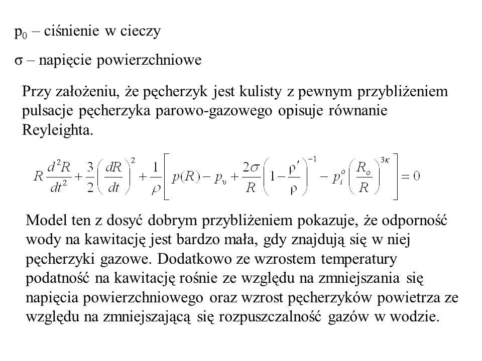 p 0 – ciśnienie w cieczy σ – napięcie powierzchniowe Przy założeniu, że pęcherzyk jest kulisty z pewnym przybliżeniem pulsacje pęcherzyka parowo-gazow