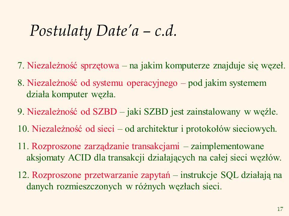 17 Postulaty Datea – c.d. 7. Niezależność sprzętowa – na jakim komputerze znajduje się węzeł. 8. Niezależność od systemu operacyjnego – pod jakim syst