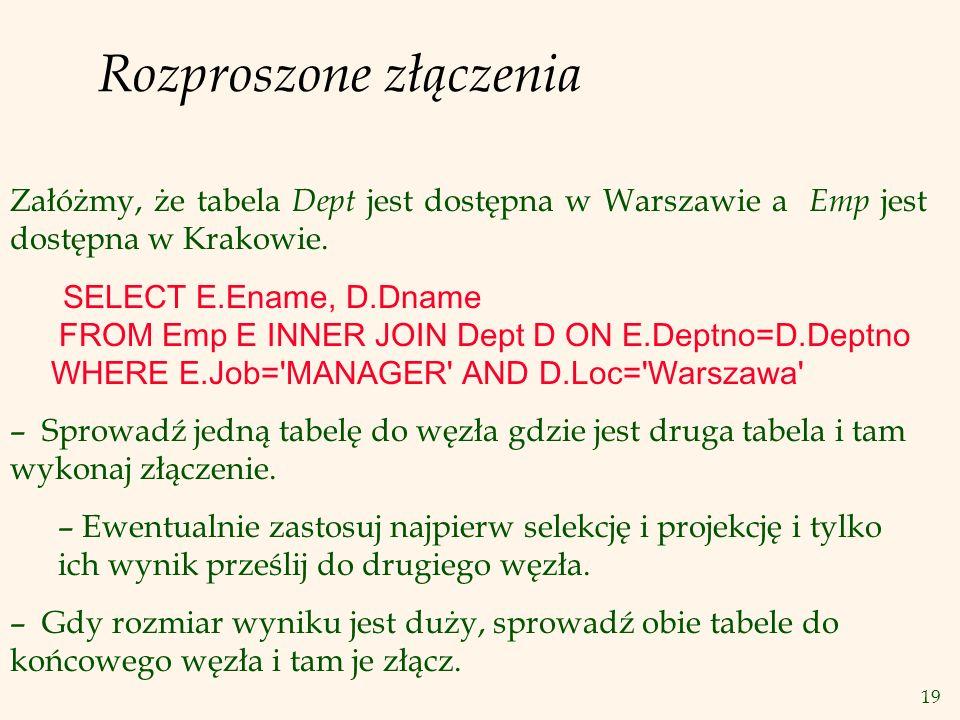 19 Rozproszone złączenia Załóżmy, że tabela Dept jest dostępna w Warszawie a Emp jest dostępna w Krakowie. SELECT E.Ename, D.Dname FROM Emp E INNER JO