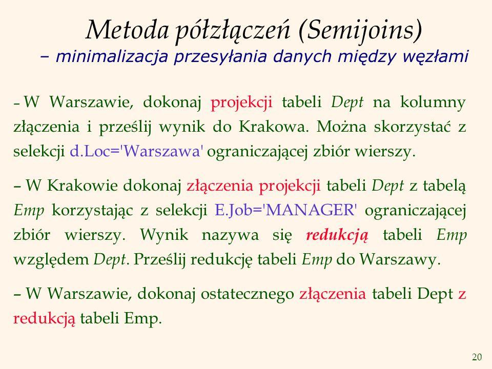 20 Metoda półzłączeń (Semijoins) – minimalizacja przesyłania danych między węzłami – W Warszawie, dokonaj projekcji tabeli Dept na kolumny złączenia i