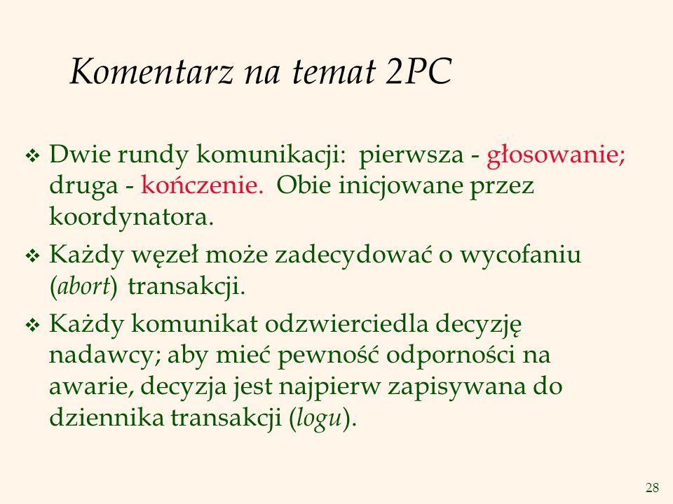 28 Komentarz na temat 2PC v Dwie rundy komunikacji: pierwsza - głosowanie; druga - kończenie. Obie inicjowane przez koordynatora. v Każdy węzeł może z