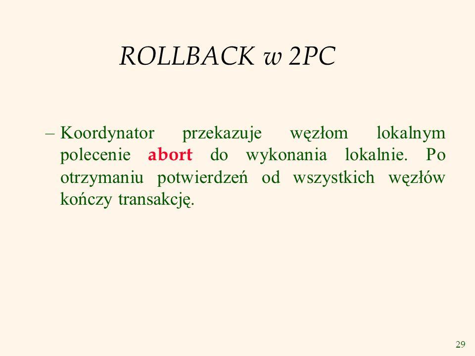 29 ROLLBACK w 2PC –Koordynator przekazuje węzłom lokalnym polecenie abort do wykonania lokalnie. Po otrzymaniu potwierdzeń od wszystkich węzłów kończy