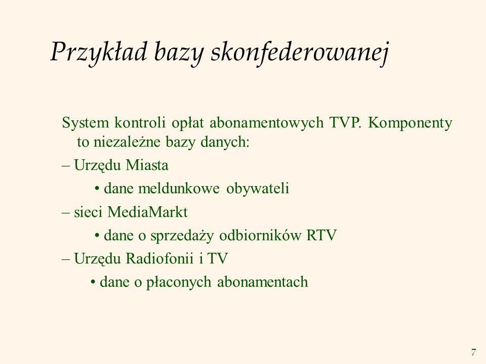 7 Przykład bazy skonfederowanej System kontroli opłat abonamentowych TVP. Komponenty to niezależne bazy danych: – Urzędu Miasta dane meldunkowe obywat