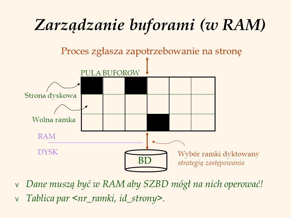Zarządzanie buforami (w RAM) v Dane muszą być w RAM aby SZBD mógł na nich operować! v Tablica par. BD RAM DYSK Strona dyskowa Wolna ramka Proces zgłas