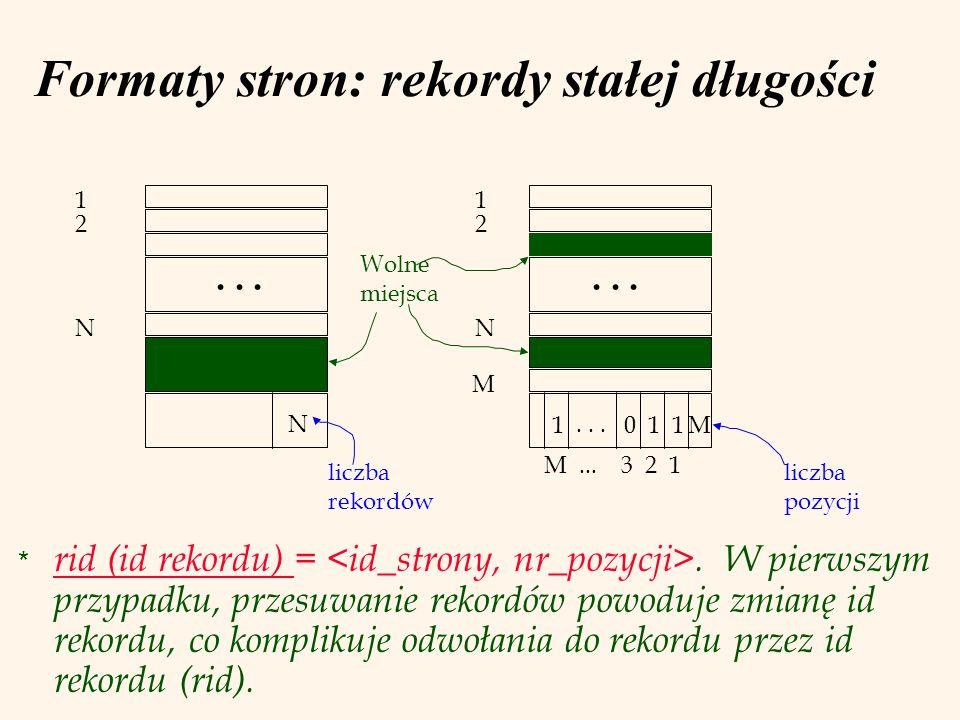 Formaty stron: rekordy stałej długości * rid (id rekordu) =. W pierwszym przypadku, przesuwanie rekordów powoduje zmianę id rekordu, co komplikuje odw