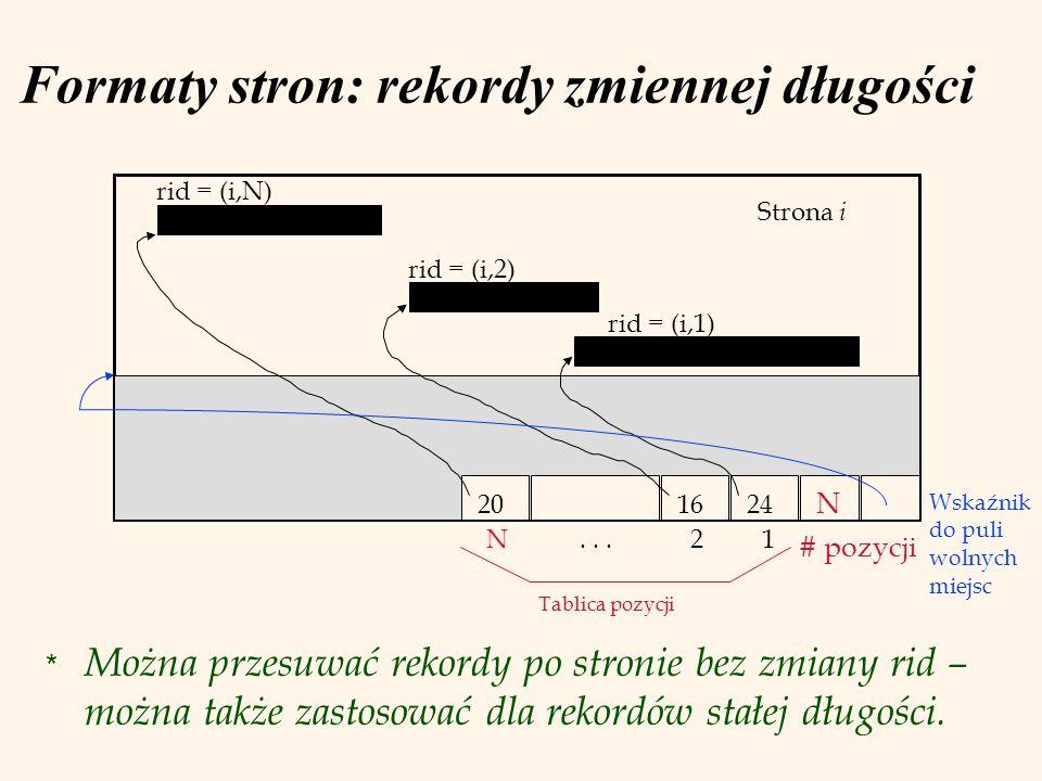 Formaty stron: rekordy zmiennej długości * Można przesuwać rekordy po stronie bez zmiany rid – można także zastosować dla rekordów stałej długości. St