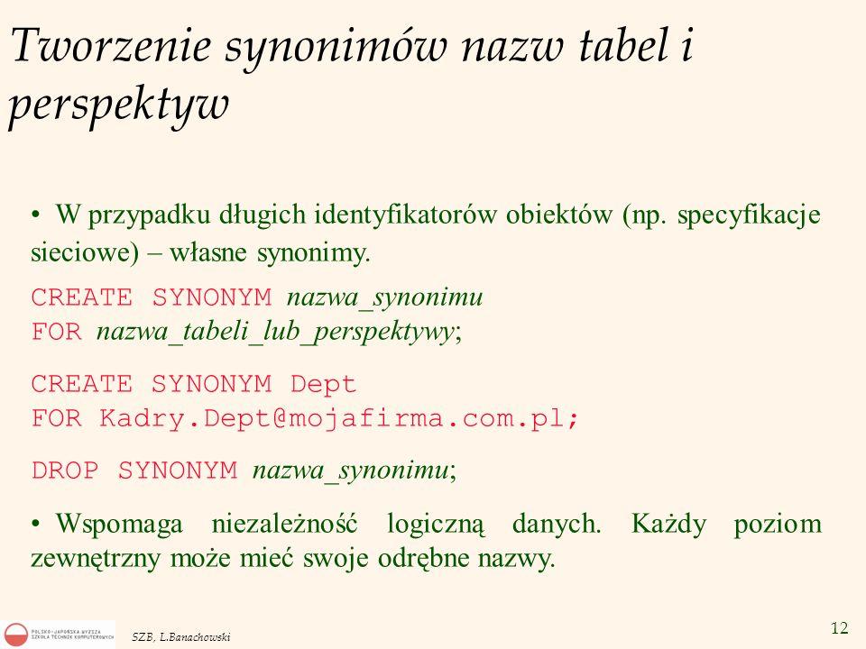 12 SZB, L.Banachowski Tworzenie synonimów nazw tabel i perspektyw W przypadku długich identyfikatorów obiektów (np. specyfikacje sieciowe) – własne sy