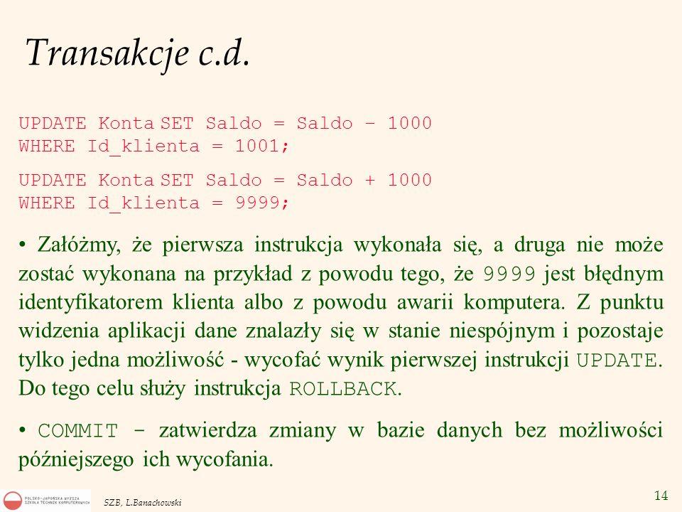 14 SZB, L.Banachowski Transakcje c.d. Załóżmy, że pierwsza instrukcja wykonała się, a druga nie może zostać wykonana na przykład z powodu tego, że 999