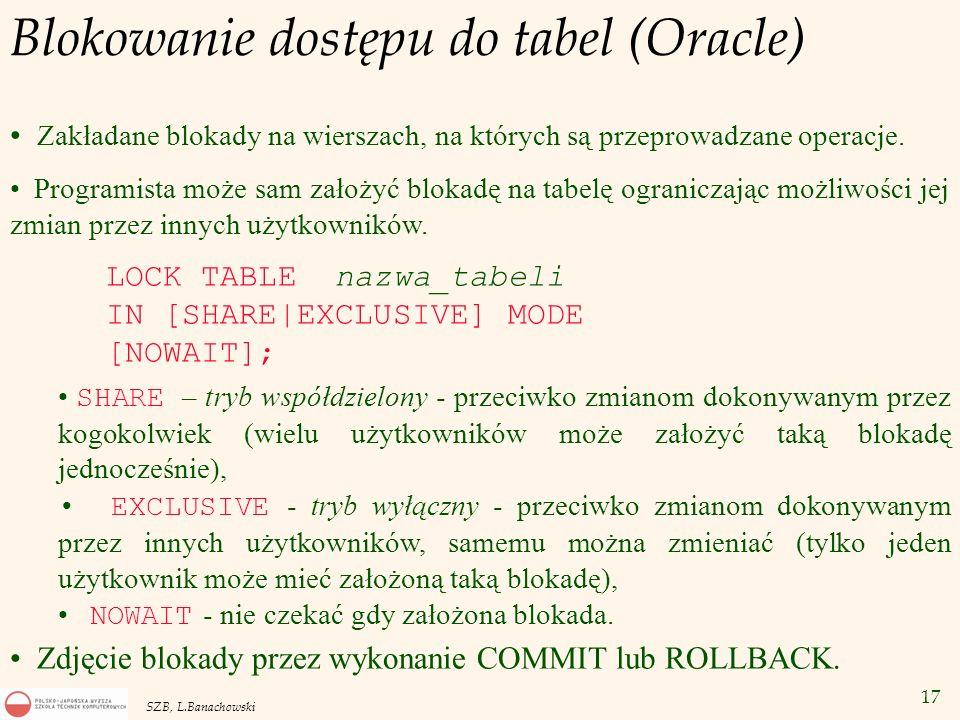 17 SZB, L.Banachowski Blokowanie dostępu do tabel (Oracle) Zakładane blokady na wierszach, na których są przeprowadzane operacje. Programista może sam