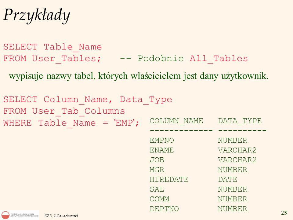 25 SZB, L.Banachowski Przykłady SELECT Table_Name FROM User_Tables; -- Podobnie All_Tables wypisuje nazwy tabel, których właścicielem jest dany użytko
