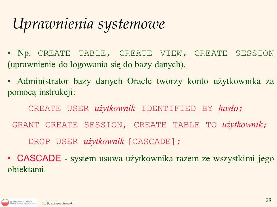 28 SZB, L.Banachowski Uprawnienia systemowe Np. CREATE TABLE, CREATE VIEW, CREATE SESSION (uprawnienie do logowania się do bazy danych). Administrator