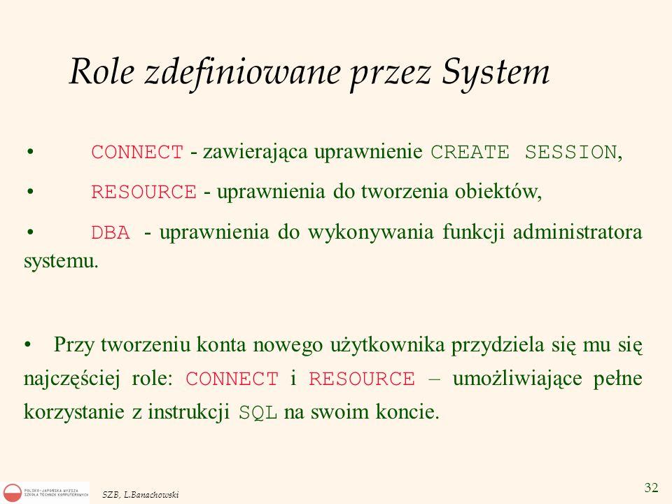 32 SZB, L.Banachowski Role zdefiniowane przez System CONNECT - zawierająca uprawnienie CREATE SESSION, RESOURCE - uprawnienia do tworzenia obiektów, D