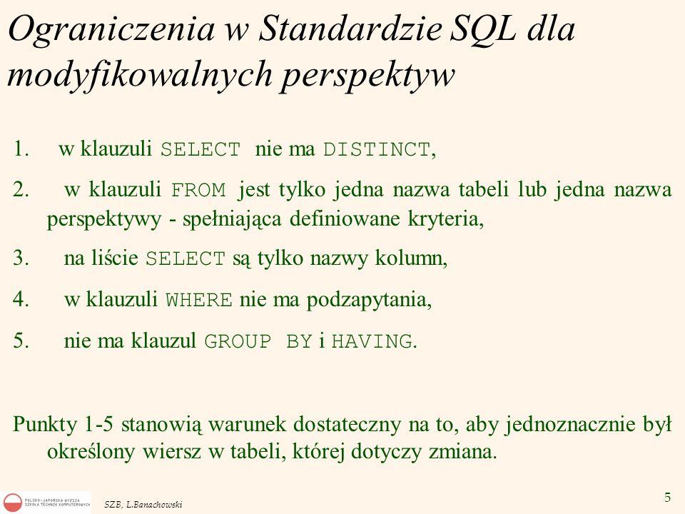 5 SZB, L.Banachowski Ograniczenia w Standardzie SQL dla modyfikowalnych perspektyw 1. w klauzuli SELECT nie ma DISTINCT, 2. w klauzuli FROM jest tylko