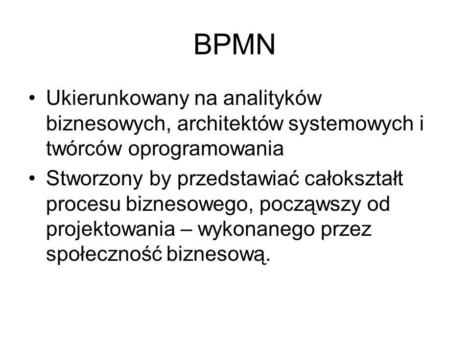 UML vs BPMN Dla inżynierów 12 rodzajów diagramów Aby uszczegółowić diagram należy stworzyć kolejny (nie wszystkie diagramy współgrają ze sobą) Możliwe modelowanie osobnych diagramów dla poszczególnych części aplikacji Zorientowany obiektowo Do modelowania faz tworzenia oprogramowania Brak execution meta –model dla procesu Dla ludzi biznesu 1 rodzaj diagramu Możliwość przestawienia szczegółów na 1 diagramie Łatwe przejście do XMLa Koncentracja (orientacja) na procesach Przeznaczony głównie do modelowania procesów biznesowych Dostarcza execution meta – model