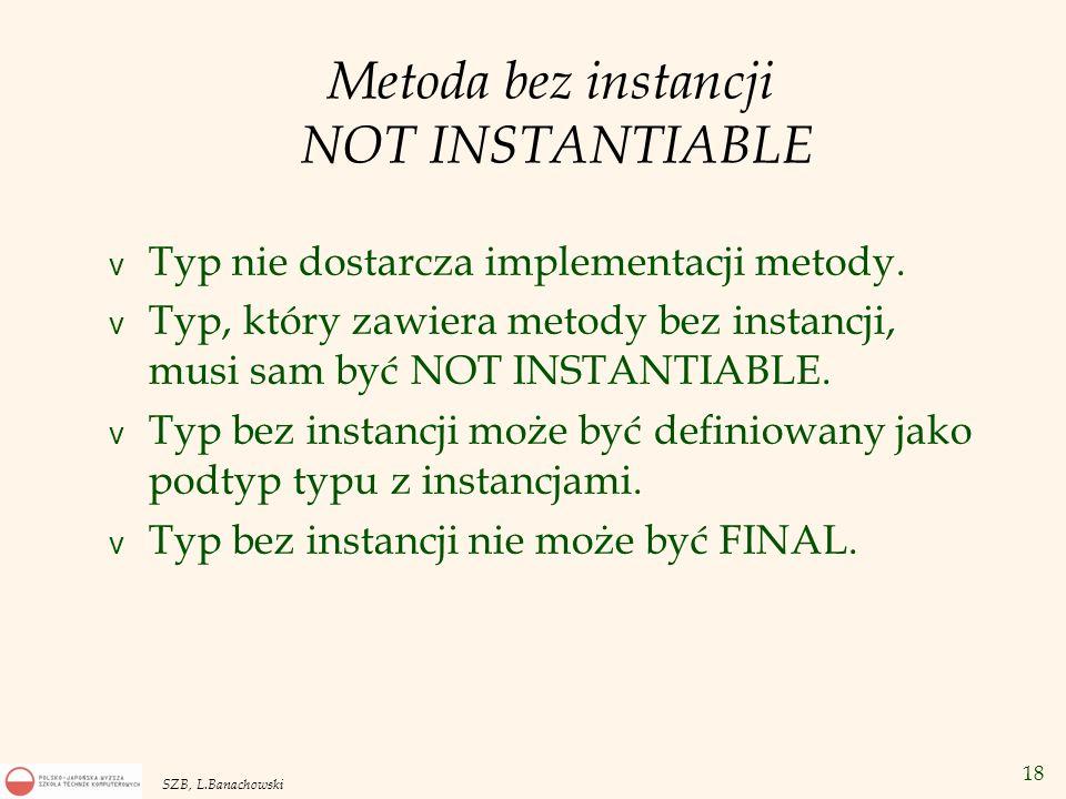 18 SZB, L.Banachowski Metoda bez instancji NOT INSTANTIABLE v Typ nie dostarcza implementacji metody. v Typ, który zawiera metody bez instancji, musi