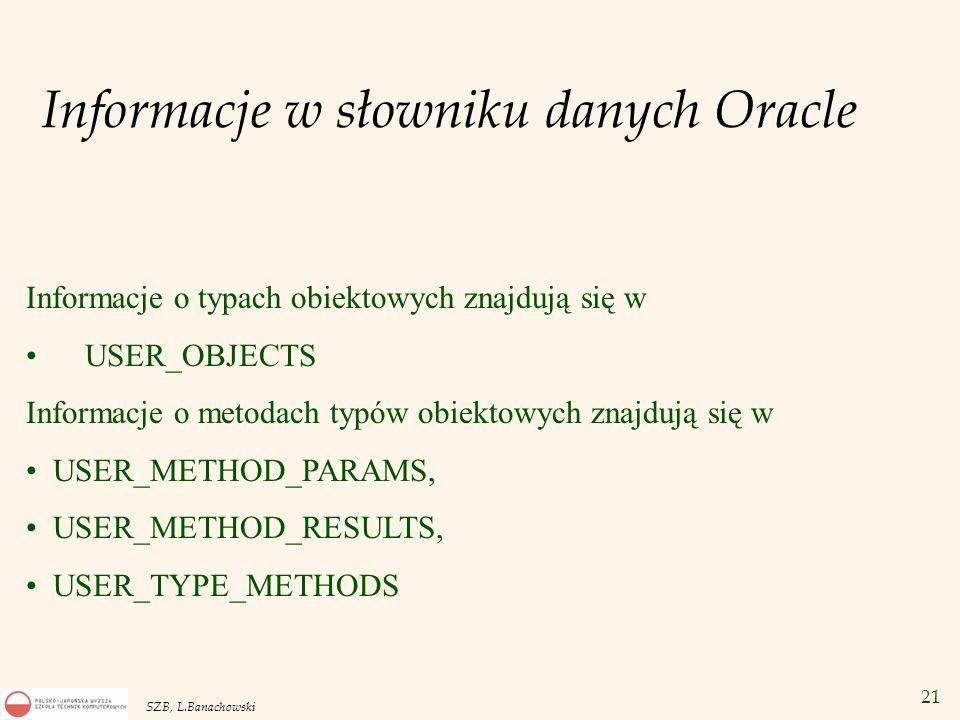 21 SZB, L.Banachowski Informacje o typach obiektowych znajdują się w USER_OBJECTS Informacje o metodach typów obiektowych znajdują się w USER_METHOD_P