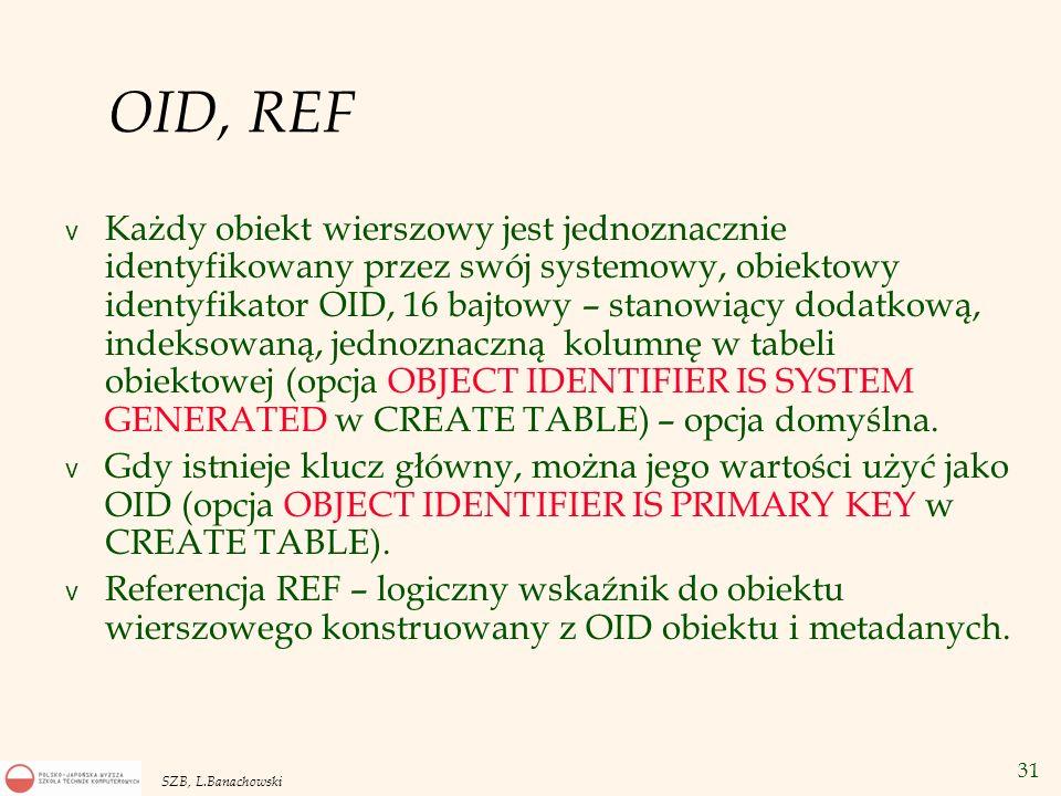 31 SZB, L.Banachowski OID, REF v Każdy obiekt wierszowy jest jednoznacznie identyfikowany przez swój systemowy, obiektowy identyfikator OID, 16 bajtow