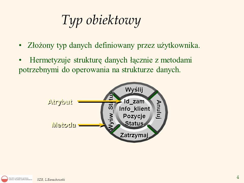 25 SZB, L.Banachowski SELECT VALUE(p) FROM name_table p WHERE p.l_name LIKE M% ; SELECT * FROM name_table p WHERE p.l_name LIKE M% ; SELECT na tabeli obiektowej Wynikiem zbiór wierszy: Wynikiem zbiór obiektów: Kanoniczna reprezentacja obiektu w SQL*Plus: -- NAME_TYP( Marilyn , Monroe , MM )