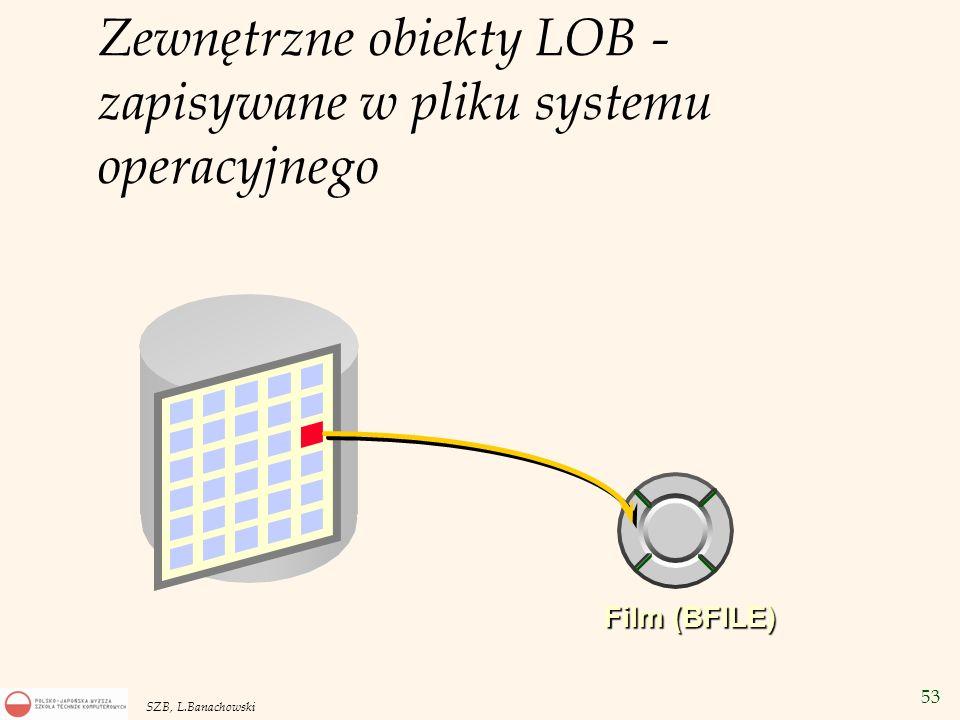 53 SZB, L.Banachowski Film (BFILE) Zewnętrzne obiekty LOB - zapisywane w pliku systemu operacyjnego