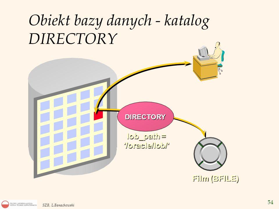54 SZB, L.Banachowski Film (BFILE) DIRECTORY lob_path = '/oracle/lob/' Obiekt bazy danych - katalog DIRECTORY
