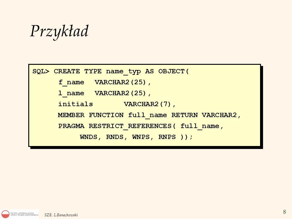 49 SZB, L.Banachowski Przepis (CLOB) Foto (BLOB) Film(BFILE) Duże obiekty LOB Atrybut typu obiektowego Kolumna w tabeli Wartość zmiennej w PL/SQL