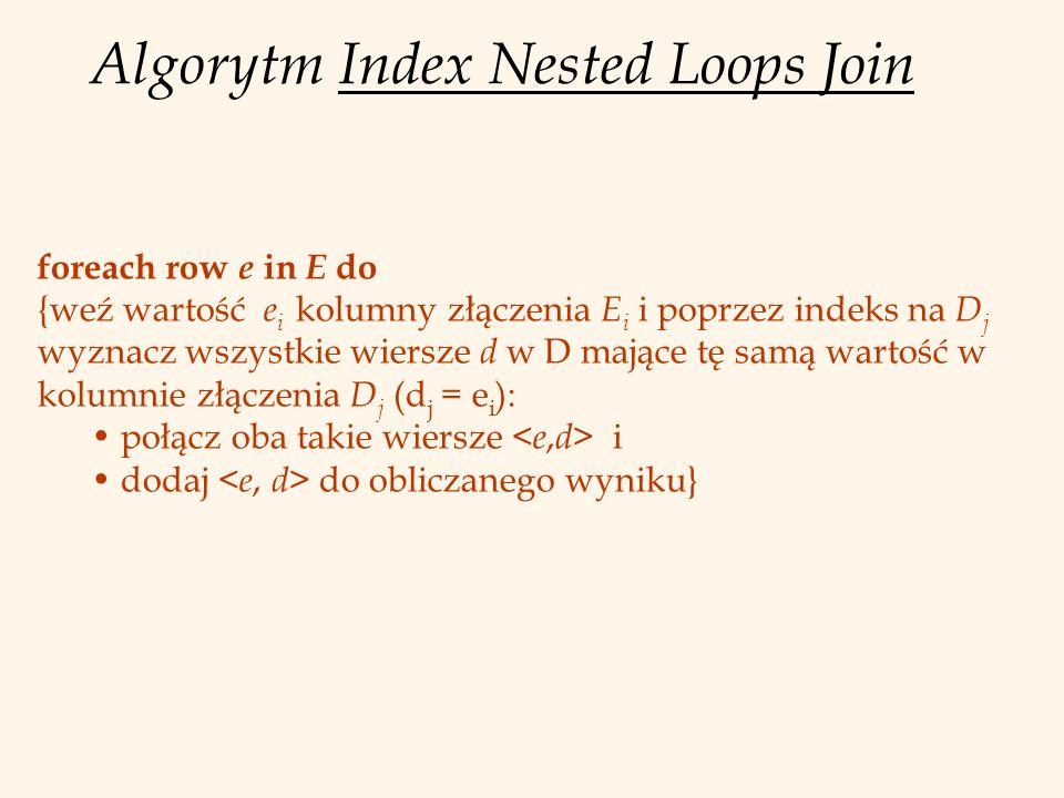 Algorytm Index Nested Loops Join foreach row e in E do {weź wartość e i kolumny złączenia E i i poprzez indeks na D j wyznacz wszystkie wiersze d w D mające tę samą wartość w kolumnie złączenia D j (d j = e i ): połącz oba takie wiersze i dodaj do obliczanego wyniku}
