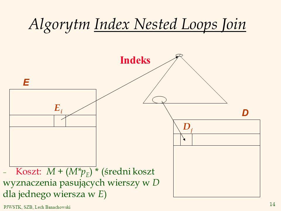 14 PJWSTK, SZB, Lech Banachowski Algorytm Index Nested Loops Join E EiEi DjDj Indeks D – Koszt: M + ( M*p E ) * (średni koszt wyznaczenia pasujących wierszy w D dla jednego wiersza w E )