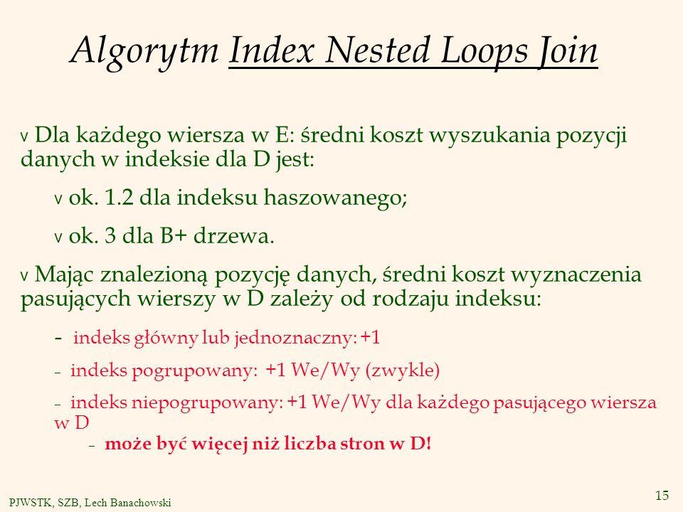 15 PJWSTK, SZB, Lech Banachowski Algorytm Index Nested Loops Join v Dla każdego wiersza w E: średni koszt wyszukania pozycji danych w indeksie dla D jest: v ok.
