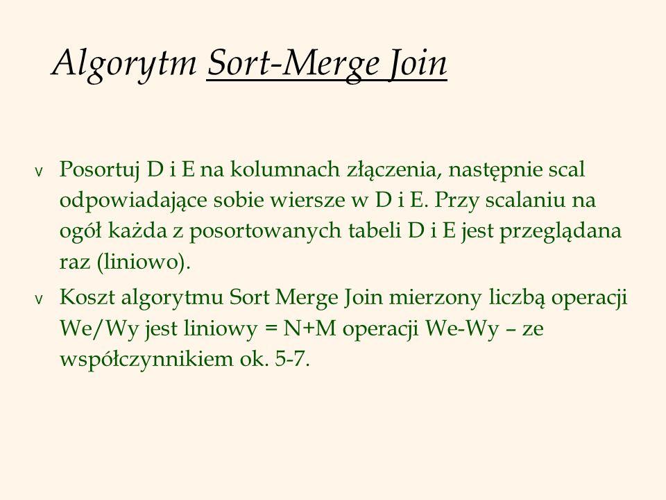 Algorytm Sort-Merge Join v Posortuj D i E na kolumnach złączenia, następnie scal odpowiadające sobie wiersze w D i E.