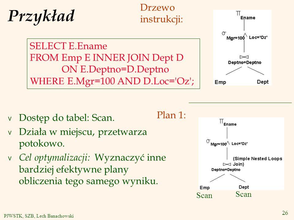 26 PJWSTK, SZB, Lech Banachowski Przykład v Dostęp do tabel: Scan.