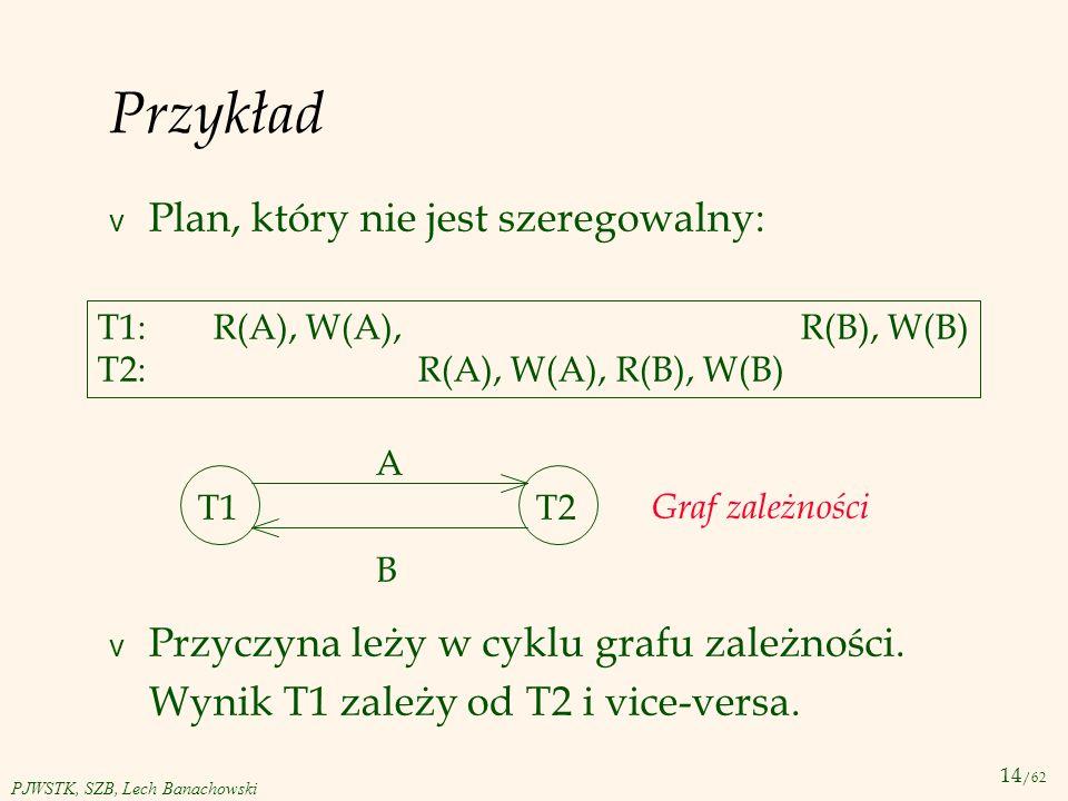 14 /62 PJWSTK, SZB, Lech Banachowski Przykład v Plan, który nie jest szeregowalny: v Przyczyna leży w cyklu grafu zależności. Wynik T1 zależy od T2 i