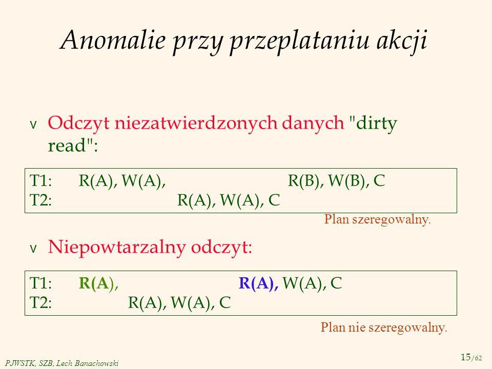 15 /62 PJWSTK, SZB, Lech Banachowski Anomalie przy przeplataniu akcji v Odczyt niezatwierdzonych danych