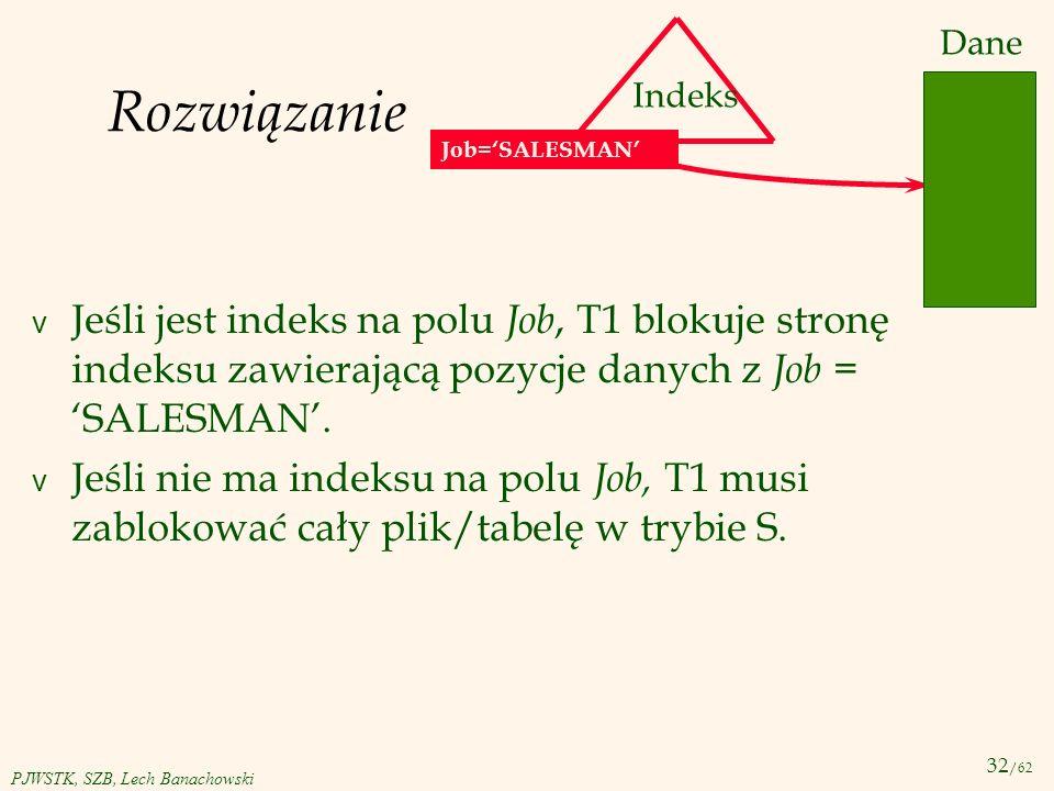 32 /62 PJWSTK, SZB, Lech Banachowski Rozwiązanie v Jeśli jest indeks na polu Job, T1 blokuje stronę indeksu zawierającą pozycje danych z Job = SALESMA