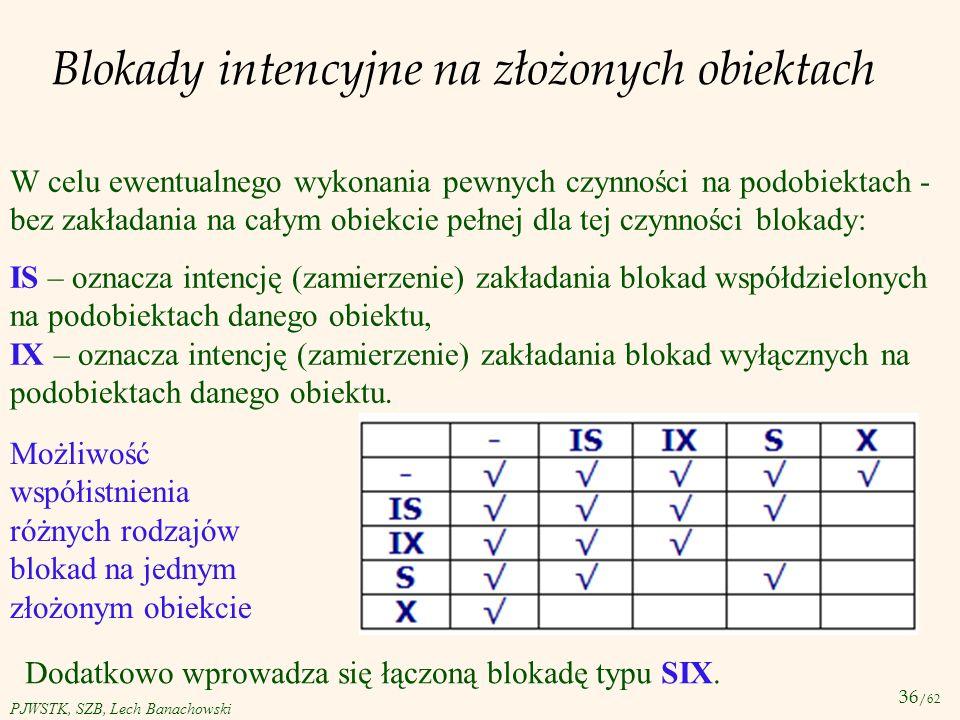 36 /62 PJWSTK, SZB, Lech Banachowski Blokady intencyjne na złożonych obiektach W celu ewentualnego wykonania pewnych czynności na podobiektach - bez z