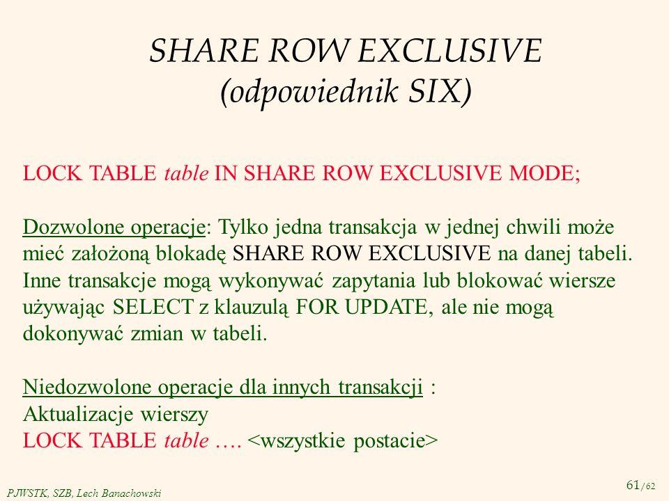 61 /62 PJWSTK, SZB, Lech Banachowski SHARE ROW EXCLUSIVE (odpowiednik SIX) LOCK TABLE table IN SHARE ROW EXCLUSIVE MODE; Dozwolone operacje: Tylko jed
