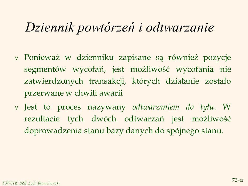 72 /62 PJWSTK, SZB, Lech Banachowski Dziennik powtórzeń i odtwarzanie v Ponieważ w dzienniku zapisane są również pozycje segmentów wycofań, jest możli