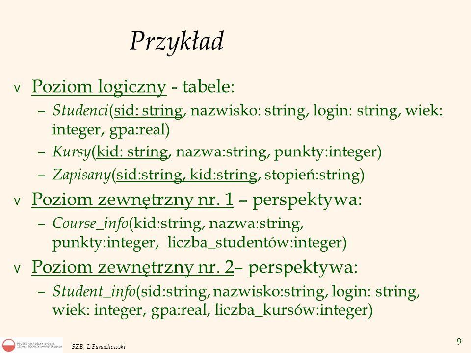 9 SZB, L.Banachowski Przykład v Poziom logiczny - tabele: – Studenci (sid: string, nazwisko: string, login: string, wiek: integer, gpa:real) – Kursy (