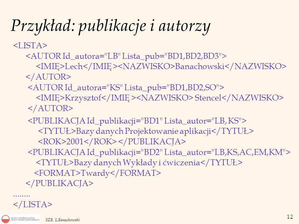 12 SZB, L.Banachowski Przykład: publikacje i autorzy Lech Banachowski Krzysztof Stencel Bazy danych Projektowanie aplikacji 2001 Bazy danych Wykłady i